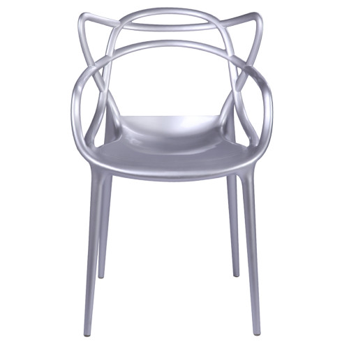 Fine Mod Imports Brand Name Dining Chair, Silver