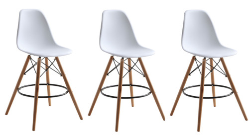 DSW Woodleg Counter Chair Square Base, White Set of 3