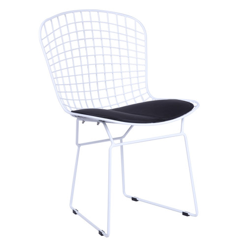 Bertoia White Wire Side Chair, Black Cushion Set of 2