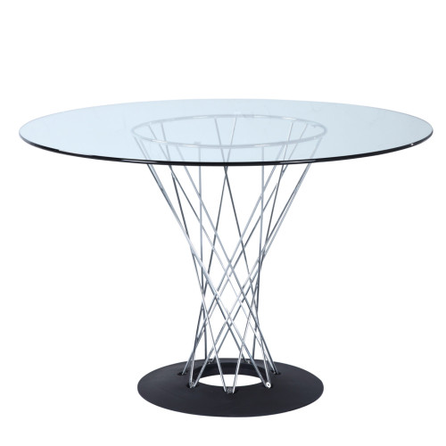 """Eastern Cyclone Dining Table 60"""" Glass Top"""