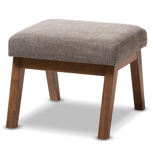 Baxton Studio Aberdeen Mid-Century Modern Walnut Wood Finishing and Gravel Fabric Upholstered Ottoman