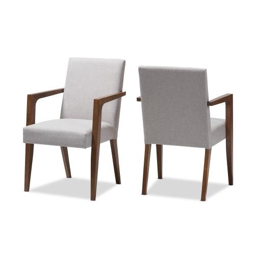 Baxton Studio Andrea Mid-Century Modern Greyish Beige Upholstered Wooden Armchair (Set of 2)