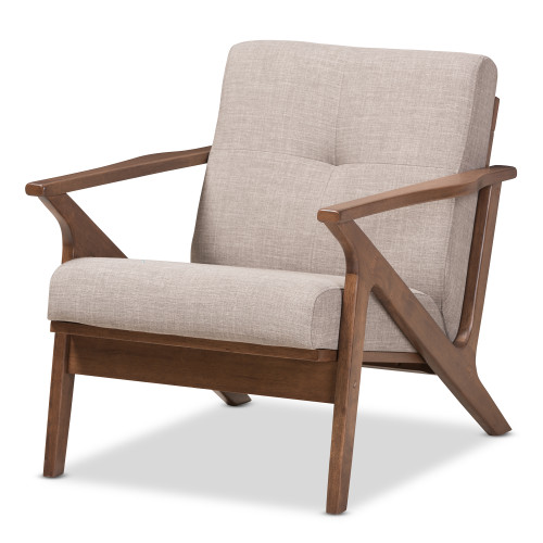 Baxton Studio Bianca Mid-Century Modern Walnut Wood Light Grey Fabric Tufted Lounge Chair