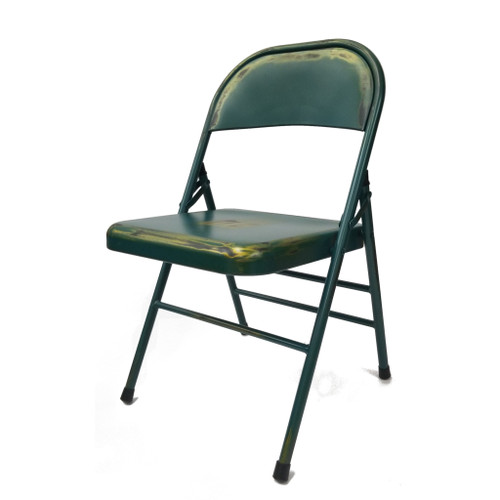 Turquoise Antique Folding Chair, Turquoise Set of 2