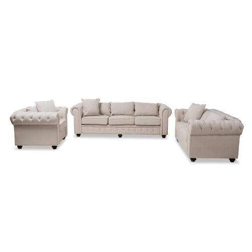 Baxton Studio Alaise Modern Classic Beige Linen Tufted Scroll Arm Chesterfield 3-Piece Living Room Set