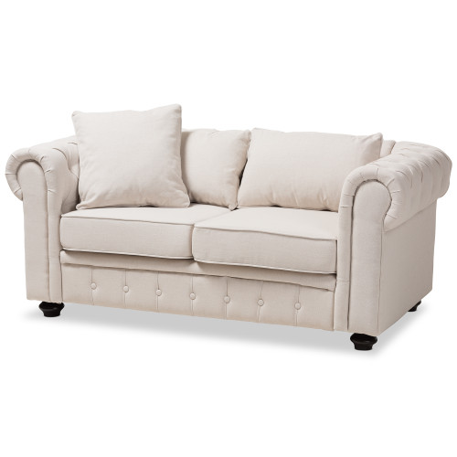 Baxton Studio Alaise Modern Classic Beige Linen Tufted Scroll Arm Chesterfield Loveseat
