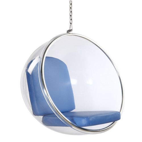 Bubble Hanging Chair, Blue Cushion