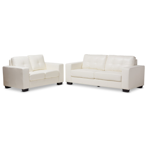 Baxton Studio Adalynn Modern and Contemporary White Faux Leather Upholstered 2-Piece Livingroom Set