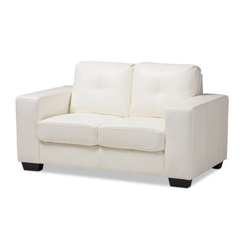 Baxton Studio Adalynn Modern and Contemporary White Faux Leather Upholstered Loveseat
