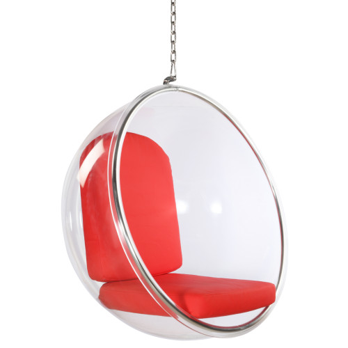 Fine Mod Imports Bubble Hanging Chair, Red