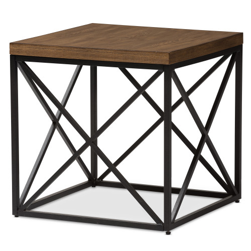 Baxton Studio Holden Vintage Industrial Antique Bronze End Table
