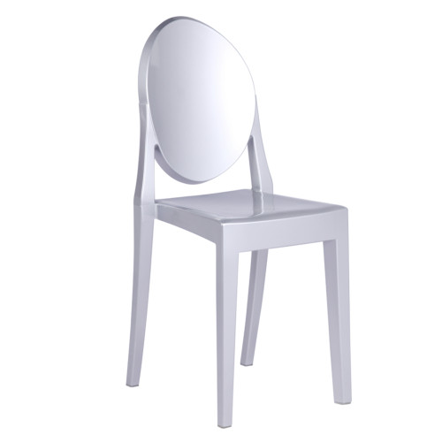 Clear Ghost Side Chair, Silver Set of 2