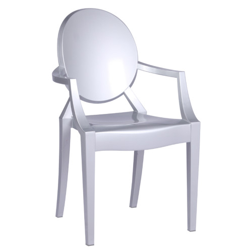 Clear Ghost Arm Chair, Silver Set Of 2
