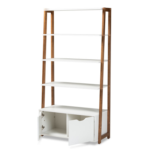 Baxton Studio Senja Modern and Contemporary Two-Tone White and Ash Walnut Brown Finished Wood 2-Door Ladder Bookshelf