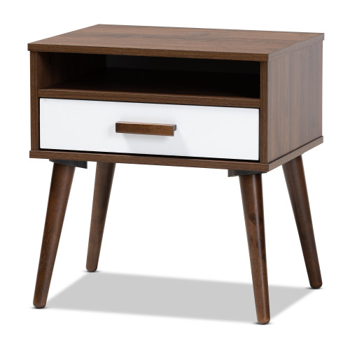 Baxton Studio Quinn Mid-Century Modern Two-Tone White and Walnut Finished 1-Drawer Wood End Table