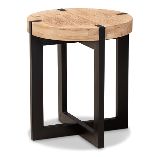 Baxton Studio Horace Rustic and Industrial Natural Brown Finished Wood and Black Finished Metal End Table