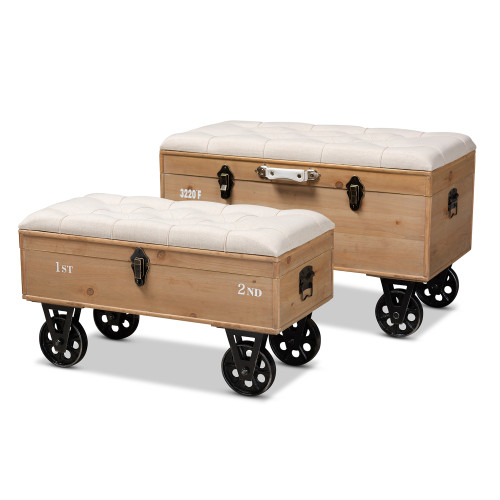 Baxton Studio Finlay Transitional Rustic Farmhouse Beige Fabric Upholstered Distressed Natural Wood and Black Metal 2-Piece Wheeled Storage Ottoman Set