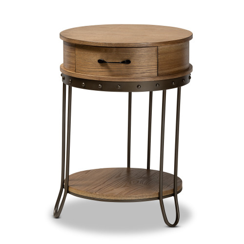 Baxton Studio Kellyn Vintage Rustic Industrial Oak Brown Finished Wood and Black Finished Metal 1-Drawer End Table