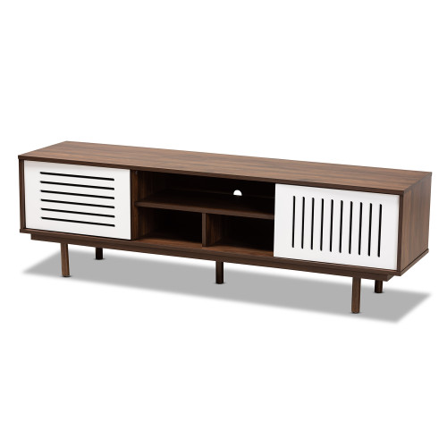 Baxton Studio Meike Mid-Century Modern Two-Tone Walnut Brown and White Finished Wood TV Stand