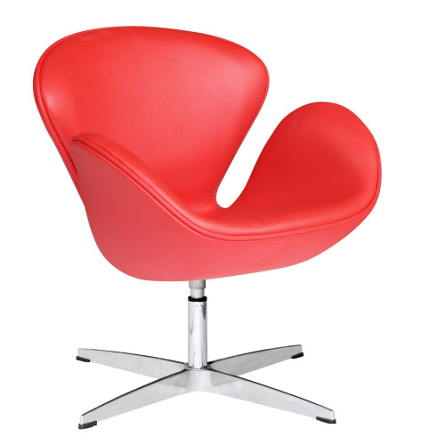 Fine Mod Imports Swan Chair Leather, Red