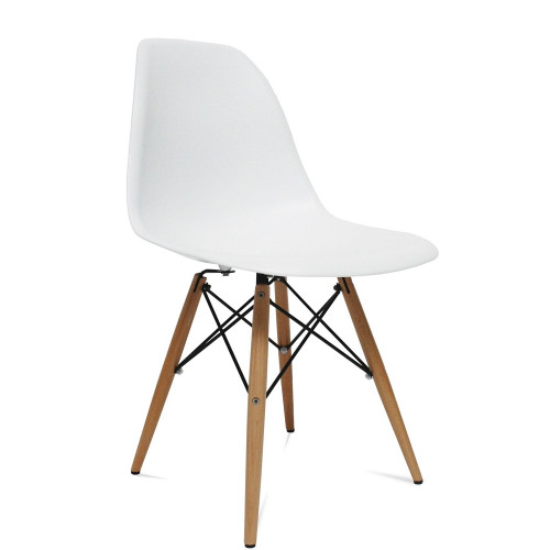 Fine Mod Imports WoodLeg Dining Side Chair, White