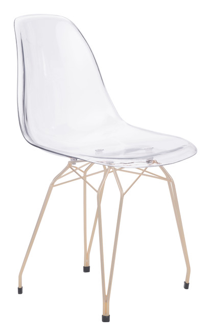 Shadow Dining Chair (Set of 2) Transparent & Gold