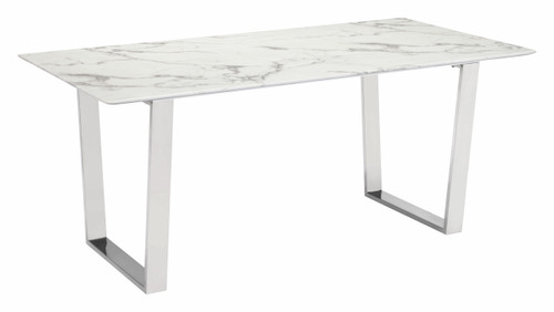 Atlas Dining Table White & Silver