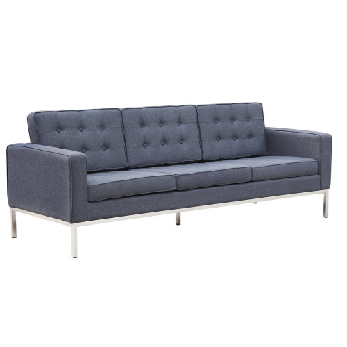 Fine Mod Imports Button Sofa in Wool, Gray