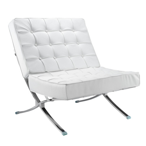 Fine Mod Imports Pavilion Chair in Leather, White