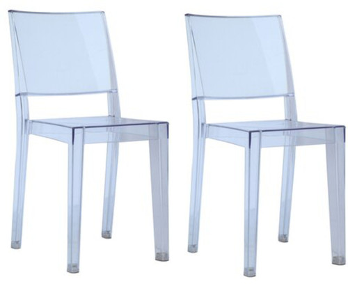 Clear Square Side Chair, Clear Set of 2