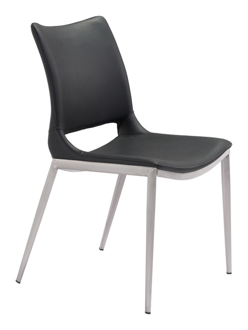 Ace Dining Chair (Set of 2) Black & Silver