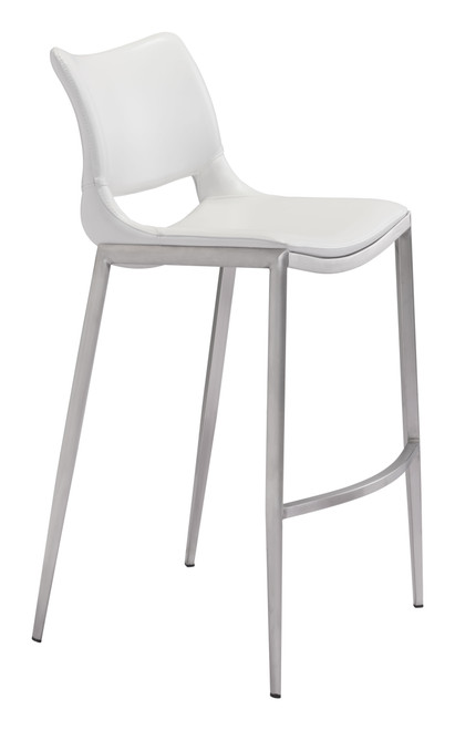 Ace Bar Chair (Set of 2) White & Silver