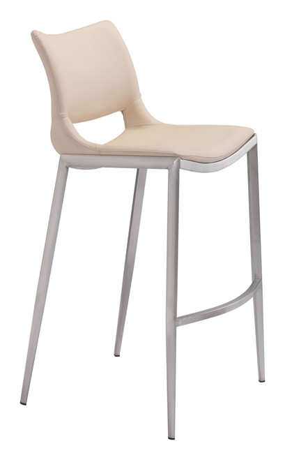 Ace Bar Chair (Set of 2) Light Pink & Silver