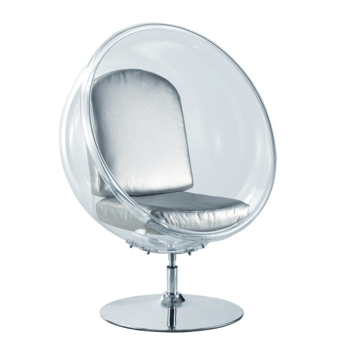 Fine Mod Imports Ball Acrylic Chair, Silver