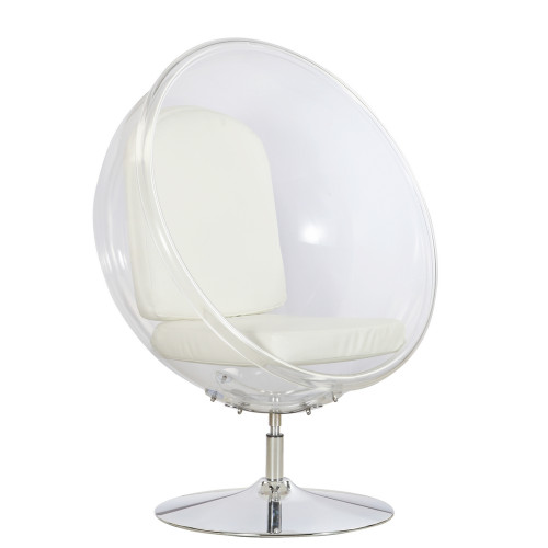 Fine Mod Imports Ball Acrylic Chair, White