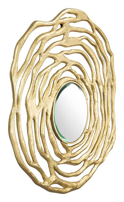 Aqua Round Mirror Gold