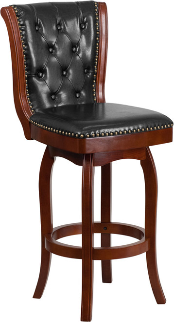 30'' High Cherry Wood Barstool with Button Tufted Back and Black LeatherSoft Swivel Seat