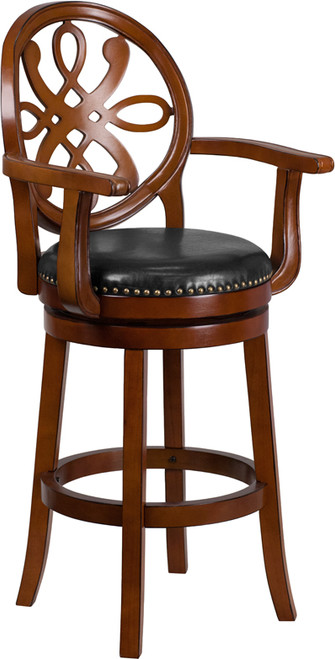 30'' High Brandy Wood Barstool with Arms, Carved Back and Black LeatherSoft Swivel Seat