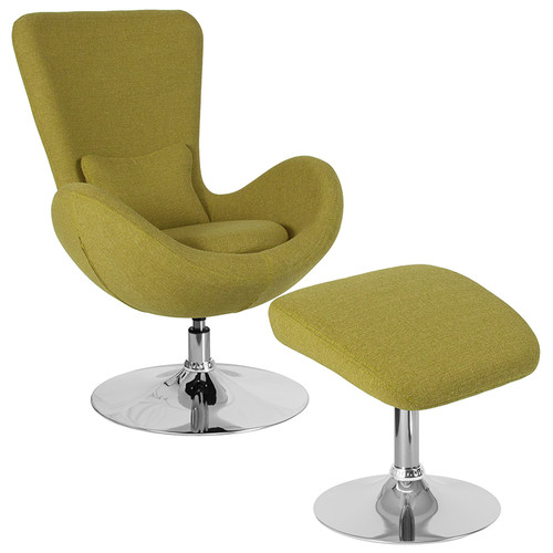 Egg Series Green Fabric Side Reception Chair with Ottoman