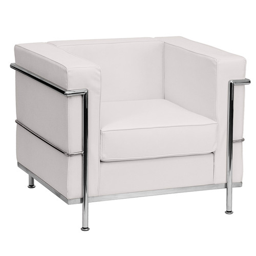 HERCULES Regal Series Contemporary Melrose White LeatherSoft Chair with Encasing Frame