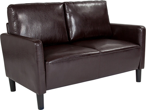 Washington Park Upholstered Loveseat in Brown LeatherSoft