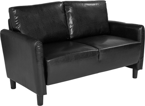 Candler Park Upholstered Loveseat in Black LeatherSoft