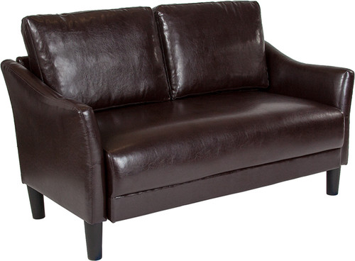 Asti Upholstered Loveseat in Brown LeatherSoft