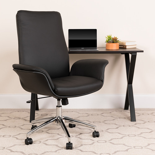 Mid-Back Black LeatherSoft Executive Swivel Office Chair with Flared Arms