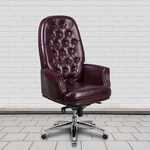 High Back Traditional Tufted Burgundy LeatherSoft Multifunction Executive Swivel Ergonomic Office Chair with Arms