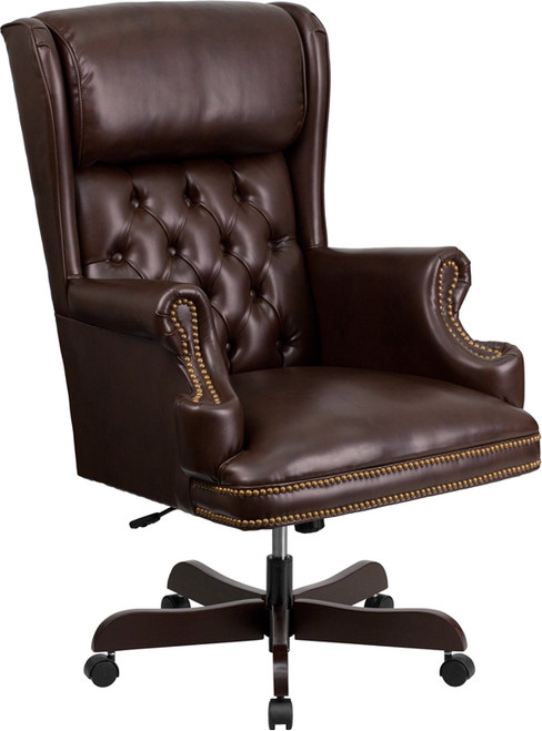 High Back Traditional Tufted Brown LeatherSoft Executive Ergonomic Office Chair with Oversized Headrest & Nail Trim Arms