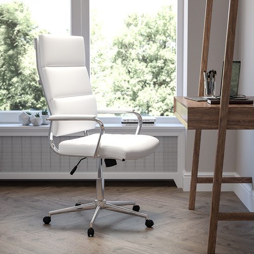 High Back White LeatherSoft Contemporary Panel Executive Swivel Office Chair