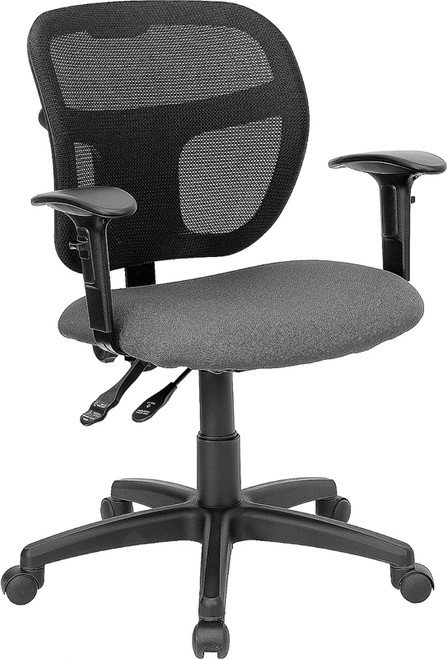 Mid-Back Gray Mesh Swivel Task Office Chair with Back Height Adjustment and Adjustable Arms
