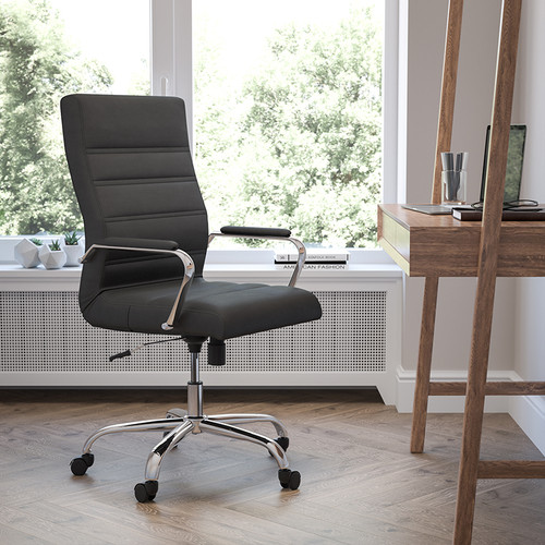 High Back Office Chair | High Back LeatherSoft Executive Office Swivel Chair with Wheels