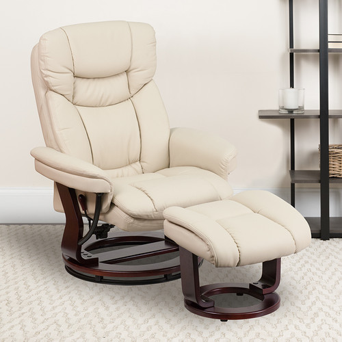 Recliner Chair with Ottoman | Beige LeatherSoft Swivel Recliner Chair with Ottoman Footrest